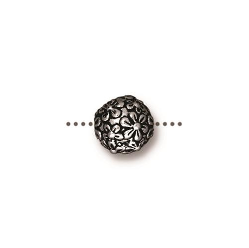 Floral Round Bead, Antiqued Silver Plate, 20 per Pack