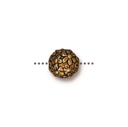 Floral Round Bead, Antiqued Gold Plate, 20 per Pack