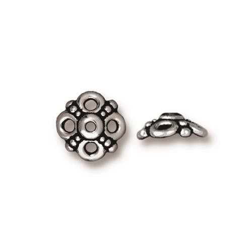 Clover 9mm Bead Cap, Antiqued Silver Plate, 20 per Pack