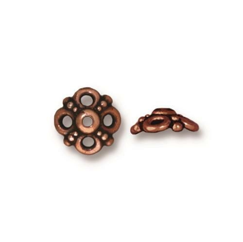 Clover 9mm Bead Cap, Antiqued Copper Plate, 20 per Pack