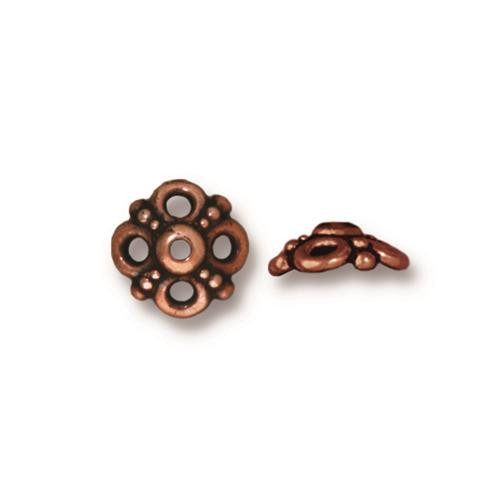 Clover 9mm Bead Cap, Antiqued Copper Plate, 20 per Pack