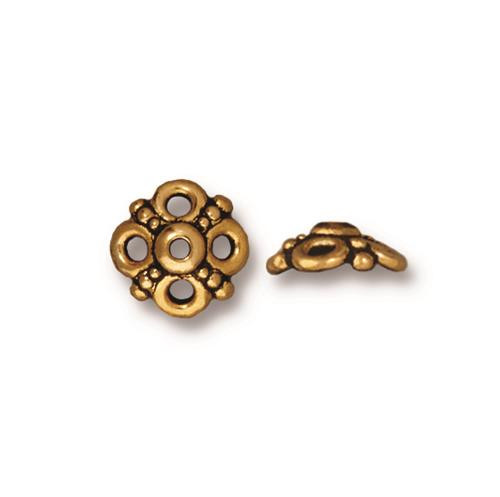 Clover 9mm Bead Cap, Antiqued Gold Plate, 20 per Pack
