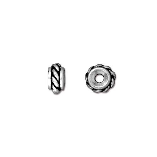 Twisted Bead, Antiqued Silver Plate, 50 per Pack