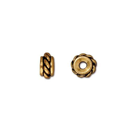 Twisted Bead, Antiqued Gold Plate, 50 per Pack