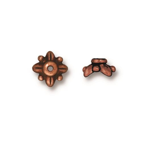 Leaf 8mm Bead Cap, Antiqued Copper Plate, 20 per Pack