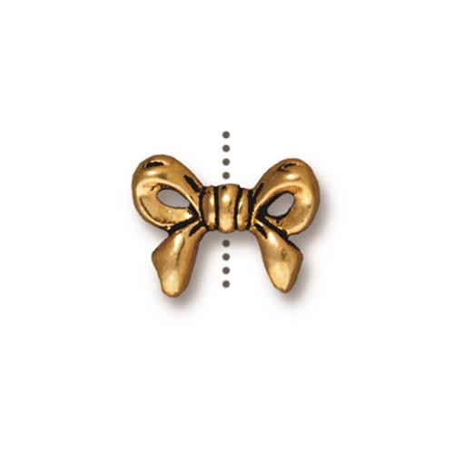 Bow Bead, Antiqued Gold Plate, 20 per Pack