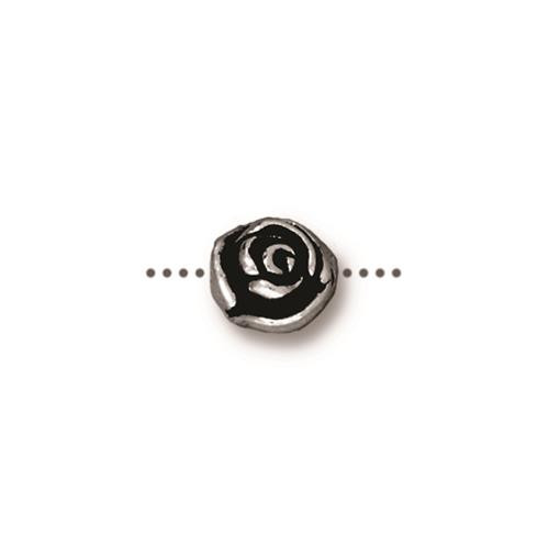 Rose Bead, Antiqued Silver Plate, 20 per Pack