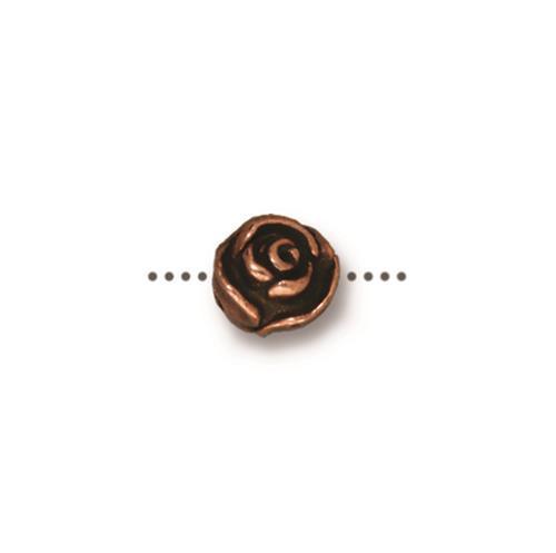 Rose Bead, Antiqued Copper Plate, 20 per Pack