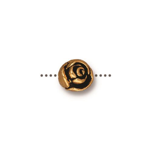 Rose Bead, Antiqued Gold Plate, 20 per Pack