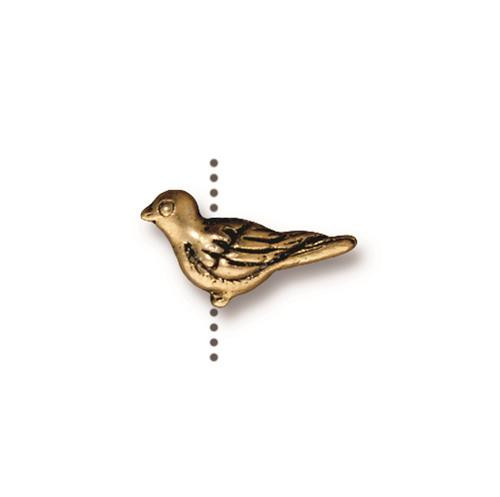 Paloma Bead, Antiqued Gold Plate, 20 per Pack