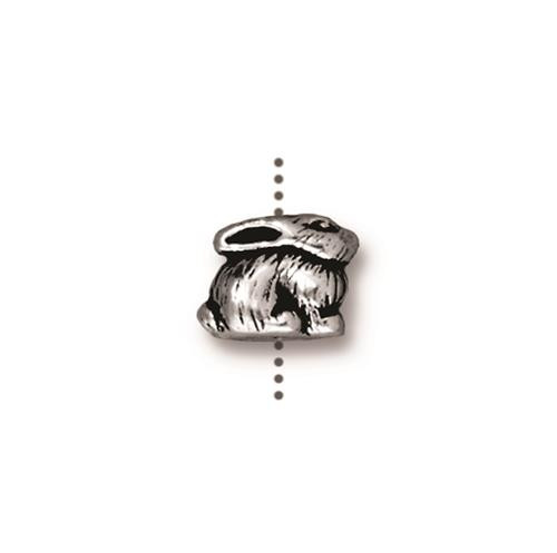 Bunny Bead, Antiqued Silver Plate, 20 per Pack