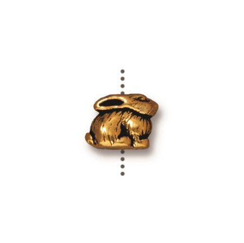 Bunny Bead, Antiqued Gold Plate, 20 per Pack