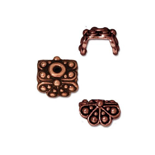 Raja Bead Cap, Antiqued Copper Plate, 20 per Pack