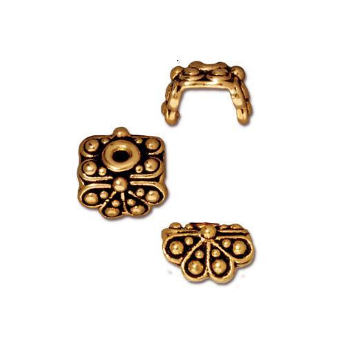 Raja Bead Cap, Antiqued Gold Plate, 20 per Pack