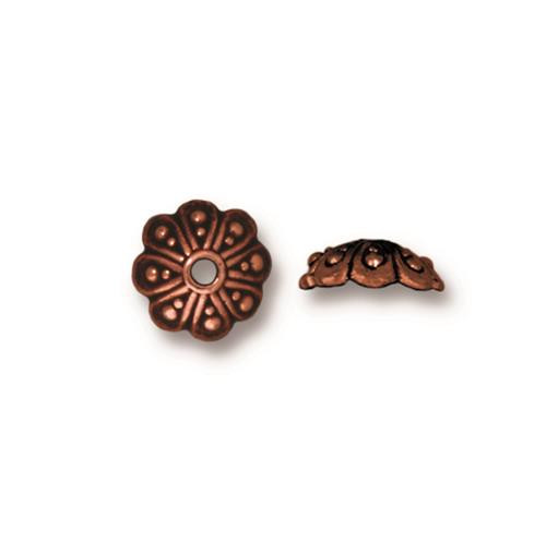 Oasis 8mm Bead Cap, Antiqued Copper Plate, 20 per Pack