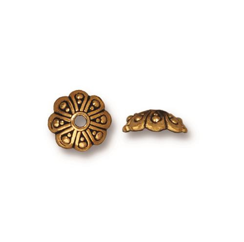 Oasis 8mm Bead Cap, Antiqued Gold Plate, 20 per Pack