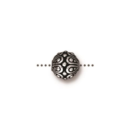 Casbah Round Bead, Antiqued Silver Plate, 20 per Pack