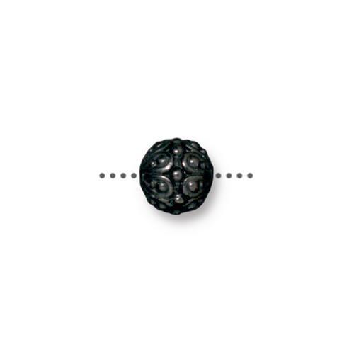 Casbah Round Bead, Black Plate, 20 per Pack