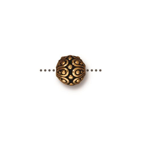 Casbah Round Bead, Antiqued Gold Plate, 20 per Pack