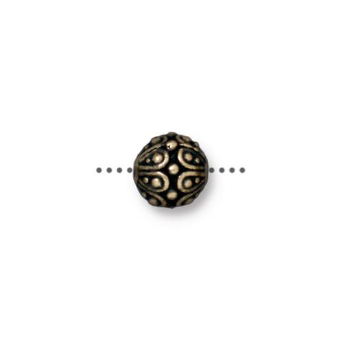 Casbah Round Bead, Oxidized Brass Plate, 20 per Pack