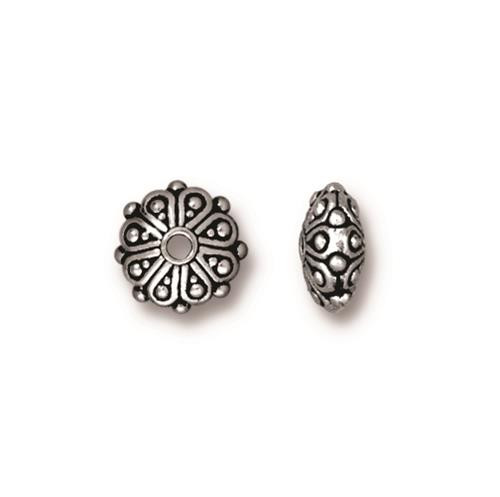 Oasis Rondelle Bead, Antiqued Silver Plate, 20 per Pack