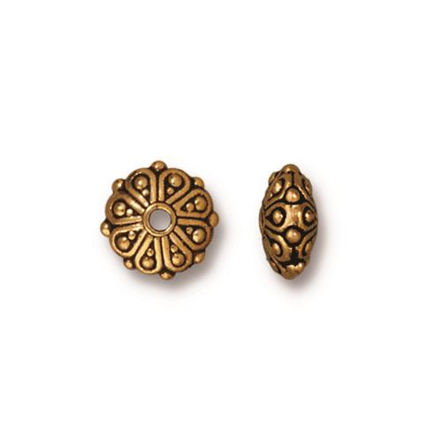 Oasis Rondelle Bead, Antiqued Gold Plate, 20 per Pack