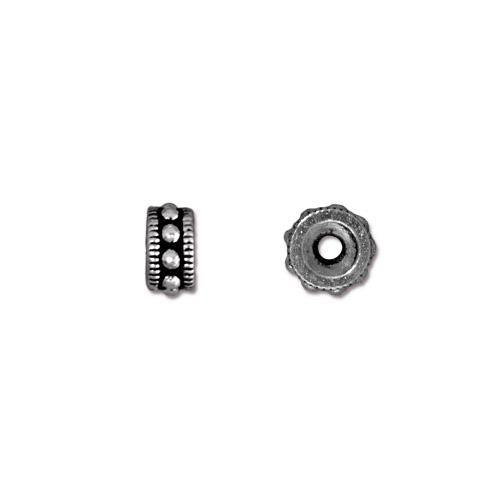 Rococo 6mm Round Bead, Antiqued Silver Plate, 50 per Pack