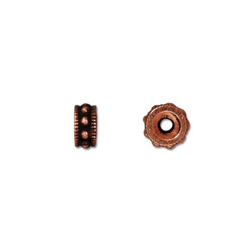 Rococo 6mm Round Bead, Antiqued Copper Plate, 50 per Pack