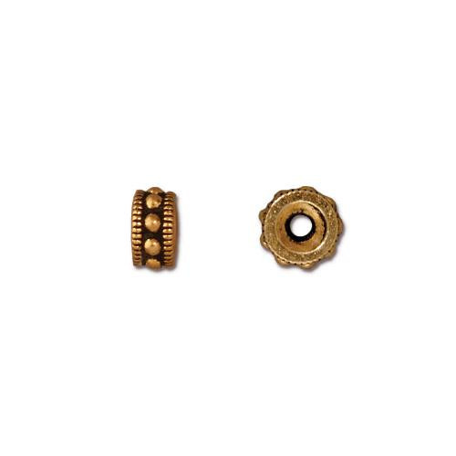 Rococo 6mm Round Bead, Antiqued Gold Plate, 50 per Pack