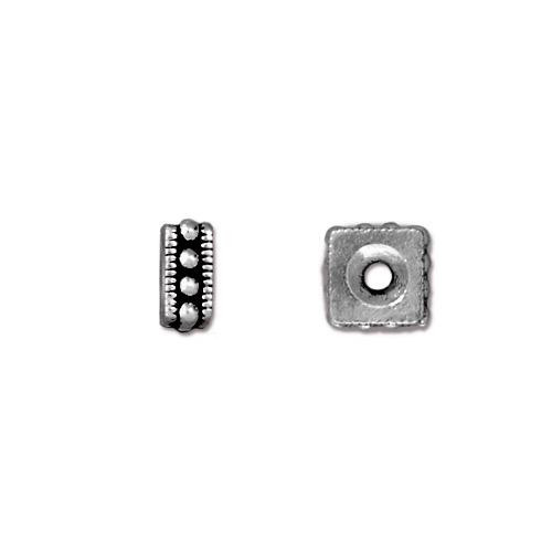 Rococo 6mm Square Bead, Antiqued Silver Plate, 50 per Pack