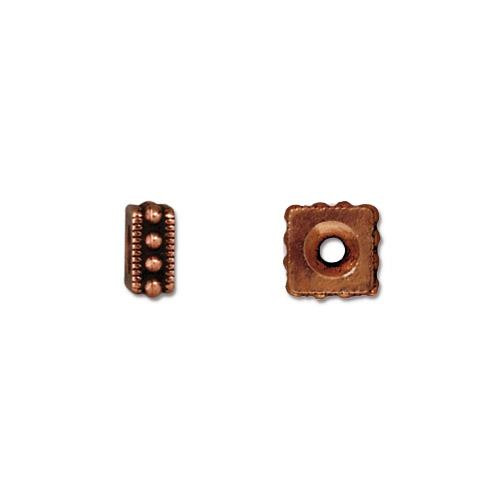 Rococo 6mm Square Bead, Antiqued Copper Plate, 50 per Pack