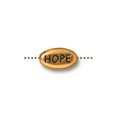 Hope Word Bead, Antiqued Gold Plate, 20 per Pack