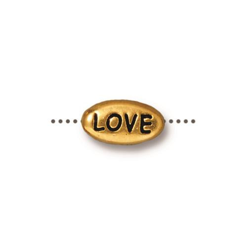 Love Word Bead, Antiqued Gold Plate, 20 per Pack