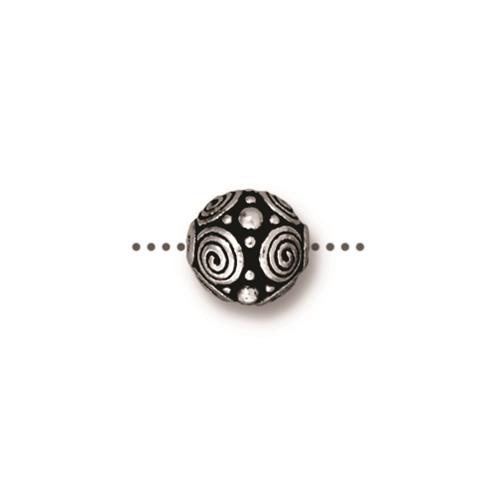 Spirals 8mm Bead, Antiqued Silver Plate, 20 per Pack