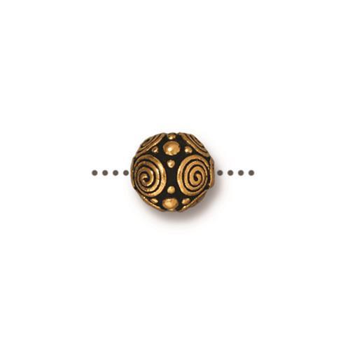 Spirals 8mm Bead, Antiqued Gold Plate, 20 per Pack