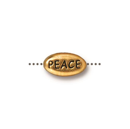 Peace Word Bead, Antiqued Gold Plate, 20 per Pack