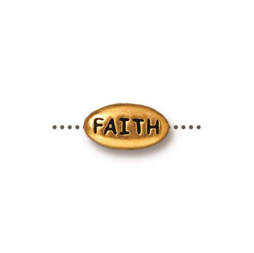 Faith Word Bead, Antiqued Gold Plate, 20 per Pack