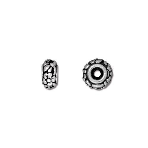 Meadow Bead, Antiqued Silver Plate, 20 per Pack