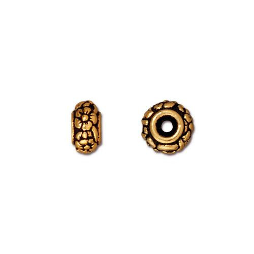 Meadow Bead, Antiqued Gold Plate, 20 per Pack