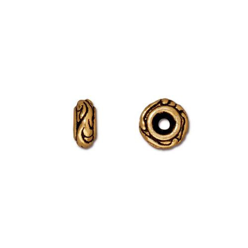 Small Woodland Bead, Antiqued Gold Plate, 50 per Pack