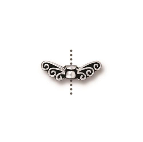 Fairy Wings Bead, Antiqued Silver Plate, 20 per Pack