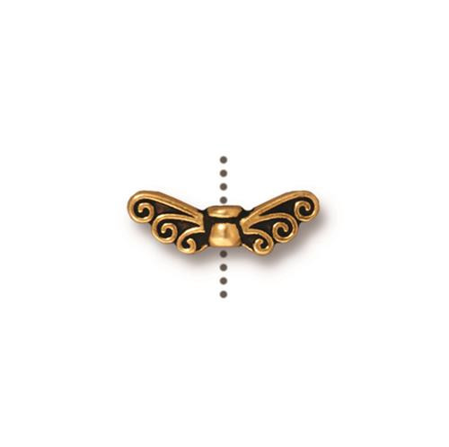 Fairy Wings Bead, Antiqued Gold Plate, 20 per Pack