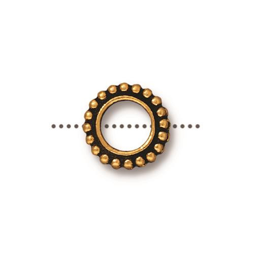 Round 6mm Bead Frame, Antiqued Gold Plate, 20 per Pack