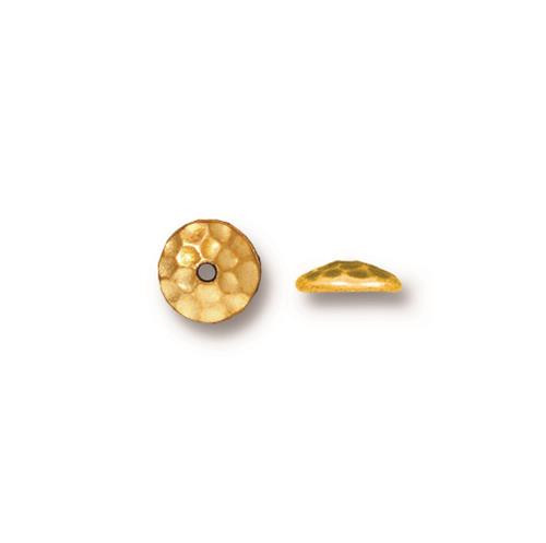Hammertone 6mm Bead Cap, Gold Plate, 50 per Pack