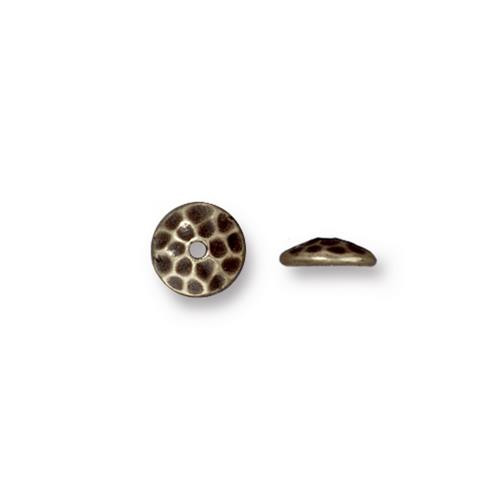 Hammertone 6mm Bead Cap, Oxidized Brass Plate, 50 per Pack