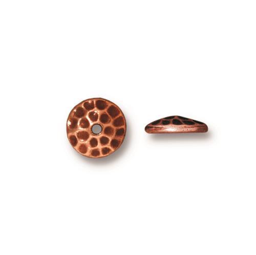 Hammertone 8mm Bead Cap, Antiqued Copper Plate, 20 per Pack