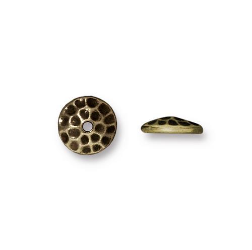 Hammertone 8mm Bead Cap, Oxidized Brass Plate, 20 per Pack