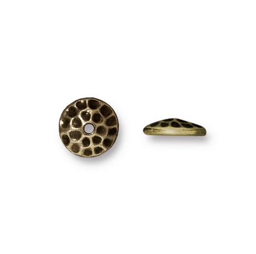 Hammertone 8mm Bead Cap, Oxidized Brass Plate, 20 per Pack