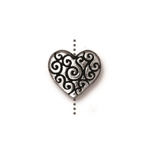 Heart Scroll Bead, Antiqued Silver Plate, 20 per Pack