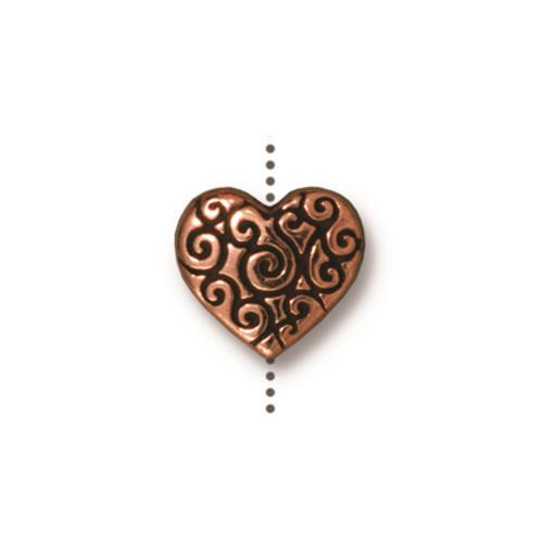 Heart Scroll Bead, Antiqued Copper Plate, 20 per Pack
